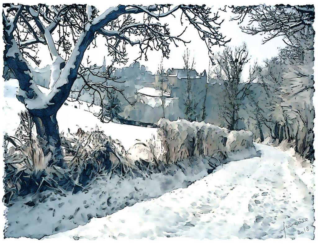aquarelle Abbaye neige